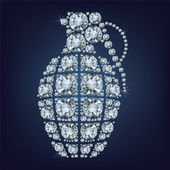 Hand grenade  made up a lot of diamonds on the black background — Stockvector