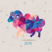2015 new year card with sheep made of triangles — Stock Vector