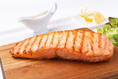 Piece of steak grilled fish — Stock Photo