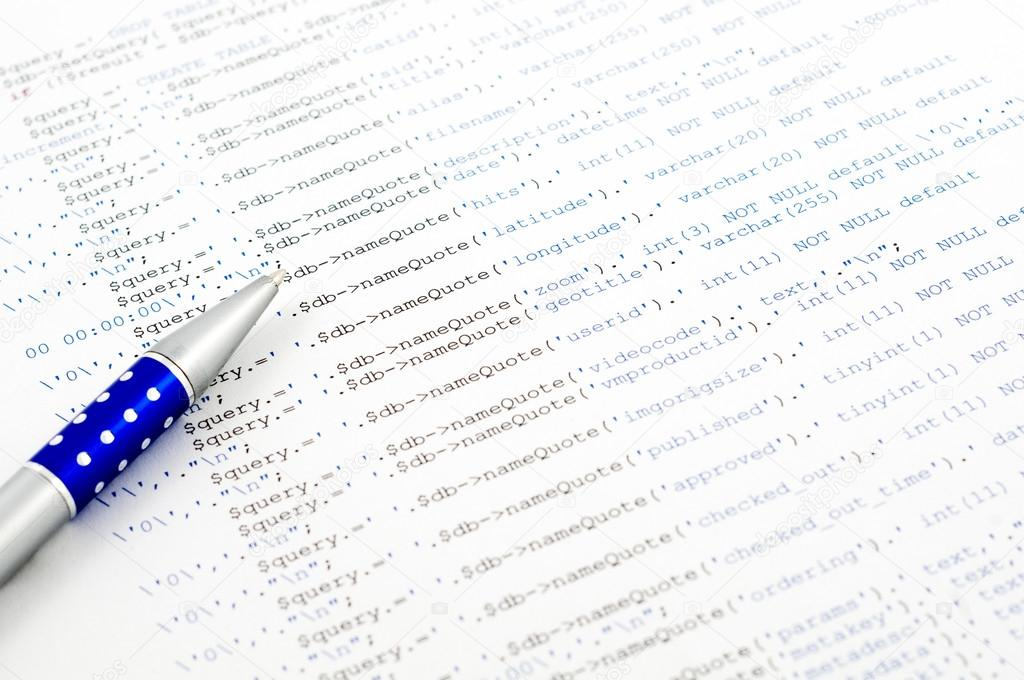 Printed on paper SQL code technology background — Stock Photo #13368892