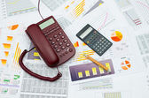 Wired Telephone And Scientific Calculator — Stock Photo
