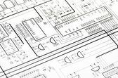 Detailed technical drawing — Stock Photo