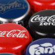 Постер, плакат: Bottle caps of Coca Cola products