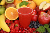 Fresh juice from red fruits — Stock Photo