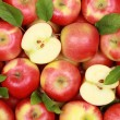 Red apples with leaves — Stock Photo #14327849