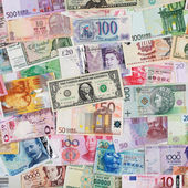 Banknotes from all over the world — Stock Photo