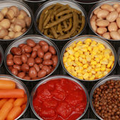 Collection of canned vegetables — Stock Photo