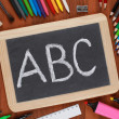 ABC on a blackboard or chalkboard — Stock Photo