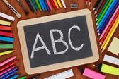 ABC on a blackboard or chalkboard — Zdjęcie stockowe