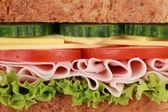 Closeup ein Sandwich mit Schinken — Stockfoto