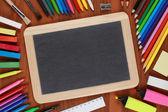 Empty black chalkboard with copyspace — Stock Photo