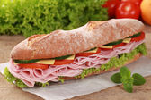 Baguette with ham — Stock Photo