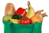 Reusable shopping bag filled with groceries — Stok fotoğraf