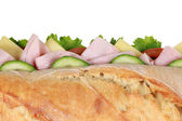 Top view of a baguette with ham — Stock Photo