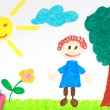 Kiddie style crayon drawing of a green meadow — Stock Photo