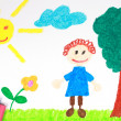 Stock Photo: Kiddie style crayon drawing of green meadow