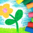 Kiddie style crayon drawing of a flower — Stock Photo