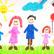 Kiddie style crayon drawing of a happy family — Stockfoto