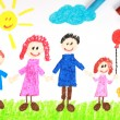 Kiddie style crayon drawing of a happy family - Stock Photo