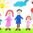 crayón de estilo infantil dibujo de una familia feliz — Foto de Stock