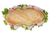 Top view of a sandwich with ham — Stock Photo