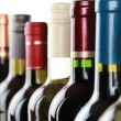 Wine bottles in a row — Stock Photo