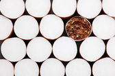 Filter cigarettes background — Stock fotografie