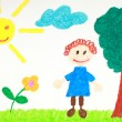 Stock Photo: Kiddie style drawing of flower, tree and child