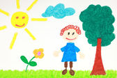 Kiddie style drawing of a flower, tree and child — Stock Photo