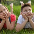 Day dreaming boy and girl — Stock Photo