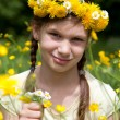 Girl with flowers in her hair on a meadow — Stock Photo