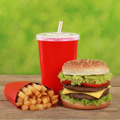 Double Cheeseburger combo meal with french fries and cola — Stock Photo