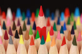 Concept red pencil standing out from the crowd — Stock Photo