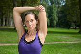 Dehnübung vor sport oder laufen — Stockfoto