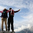 Mountaineers on top of a mountain — Stock Photo