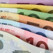 All Euro notes one after another — Stock Photo
