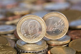 One Euro coin from Spain King Juan Carlos — Stock Photo