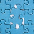 Last piece in a puzzle concept problem solution — Stock Photo