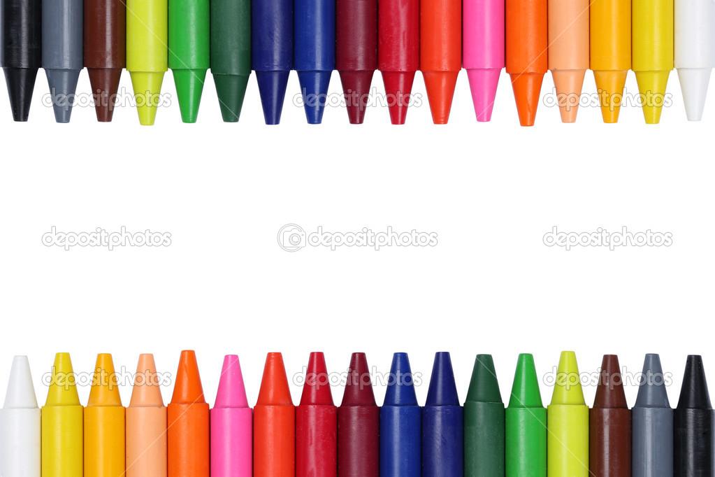 Lápices de colores para los niños formando un marco — Foto de