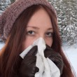 Young woman having a cold and flu virus outdoors — Photo