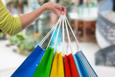 Young woman holding shopping bags in a shopping mall — Stock Photo