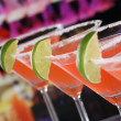 Red Martini Cocktails in glasses in a bar — Stock Photo #43886453
