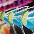 Blue Curacao Cocktails in Martini glasses in a bar — Stock Photo