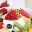 Close up fruit cereals with yogurt for breakfast — Stock Photo