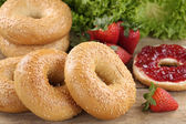 Breakfast with bagels and marmalade — Stock Photo