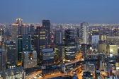 Skyline japon osaka au centre-ville dans la nuit — Photo