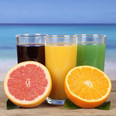 Juice from oranges, kiwi and grapefruit at the sea — Stock Photo