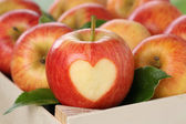 Apple with heart love topic — Stock Photo