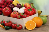 Healthy eating fruits and vegetables in box — Stock Photo