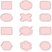 Stickers , set in the light pink colors. — Stock Photo